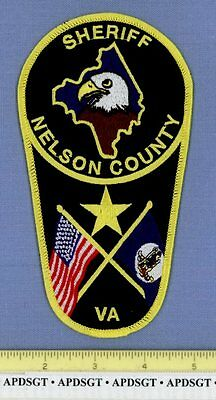 NELSON COUNTY SHERIFF VIRGINIA VA Police Patch COUNTY SHAPE OUTLINE STATE FLAG