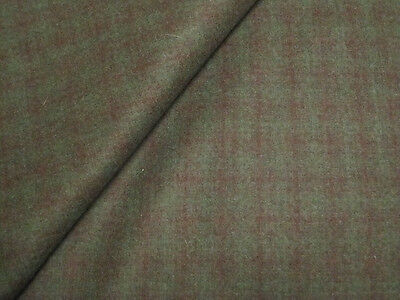 "2.1yds/62""  PURE WOOL FABRIC GREEN BLACK HEAVY COAT WEIGHT UPHOLSTERY CRAFTS"