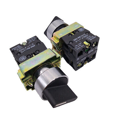 US Stock 2x XB2-BD25C ON-OFF 2-Position 1NO+1NC Latching Rotary Selector Switch