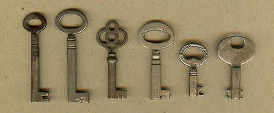 6 Old Original Vintage Furniture, Cabinet Skeleton Door Lock, Barrel Keys (E)