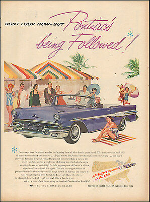 1957 Vintage ad for Pontiac retro Car Convertible Beach Towel  (101416)