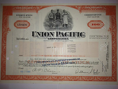 Union Pacific Railroad Corporation original historic stock certificate