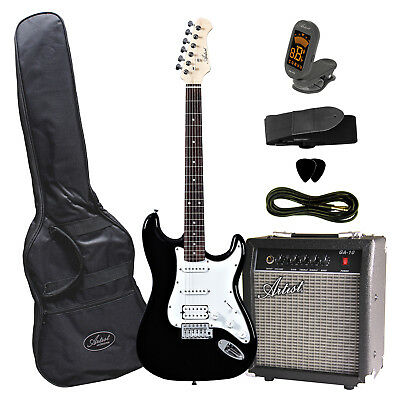 Artist STHPK Black Electric Guitar Plus Amp and Accessories - New
