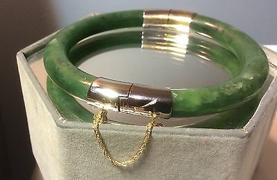 Vintage Chinese Nephrite Jade Bracelet - Spinach Color 14k Safety Chain