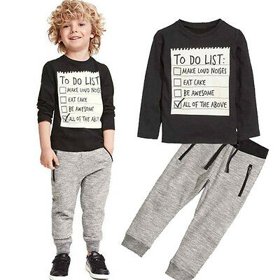 2PCS Kids Toddler Boys Long Sleeve Tops T-shirt + Long Pant Outfits Clothing Set