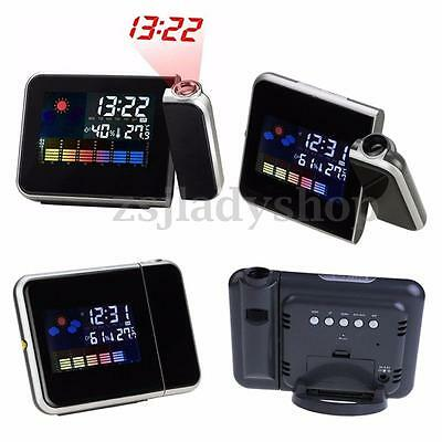 Digital LCD Time Projector Snooze Alarm Clock Temperature Weather Humidity LED