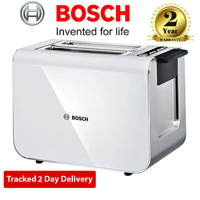 BOSCH Styline TAT8611GB 2-Slice Digital Toaster White Defrost Function