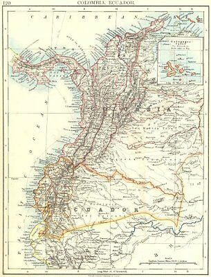 ANDEAN STATES. Colombia Ecuador Panama. States. South America.JOHNSTON 1899 map