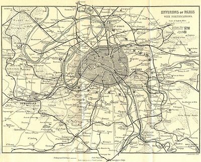 Environs of Paris. Fortifications & railways 1914 old antique map plan chart