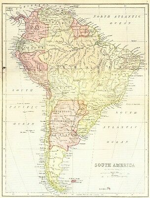 MAPS. South America 1870 old antique vintage plan chart