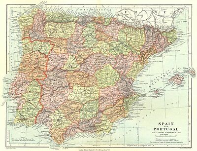 IBERIA. Spain and Portugal showing provinces. STANFORD 1906 old antique map