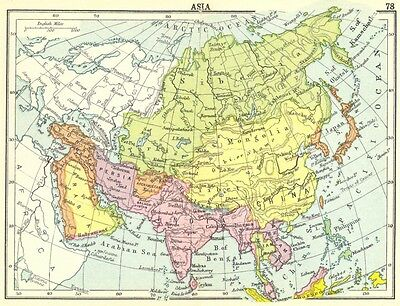 ASIA. Asia; Small map 1912 old antique vintage plan chart
