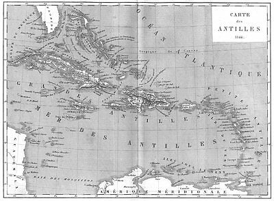 WEST INDIES. Amerique. Carte des Antilles 1844 1875 old antique map plan chart