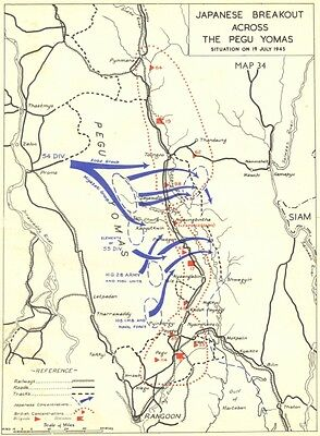BURMA. May to Sep, 1945. Japanese Breakout across Pegu Yomas 1951 old map