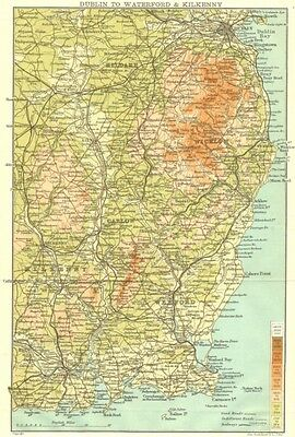 IRELAND. Dublin to Waterford and Kilkenny 1906 old antique map plan chart