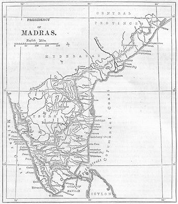 INDIA. Map of the Presidency of Chennai c1880 old antique plan chart