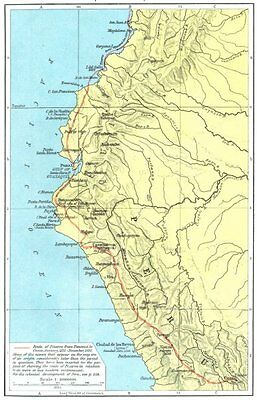 PERU. The Conquest of Peru, 1531-1533 1956 old vintage map plan chart