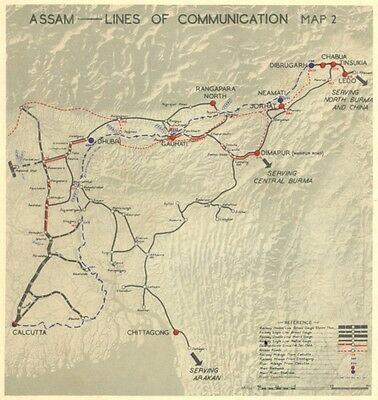 INDIA. Assam-Lines of Communication 1951 old vintage map plan chart