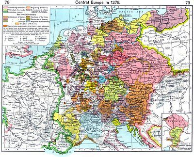 EUROPE. Central in 1378; map of Dominions Ottocar Bohemia 1956 old vintage