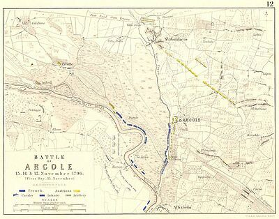 BATTLE OF ARCOLE 15TH. 16th, and 17th November 1796 - sheet 1. Italy 1848 map