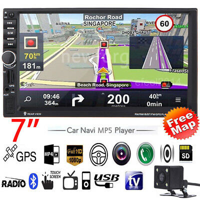 """7"""" HD Double 2 Din Car MP5 Player Bluetooth Touch Screen Head Units GPS + CAMERA"""