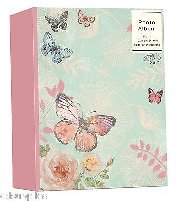 "Photo Album Butterfly & Rose Design Holds 80 4"" x 6"" Photographs Slip In GIQQ"