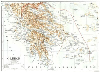 GREECE. Greece(Modern) 1910 old antique vintage map plan chart