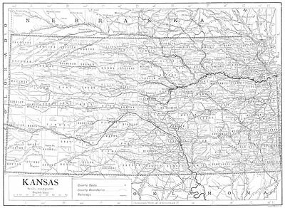 KANSAS. State map showing counties 1910 old antique vintage plan chart