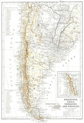 SOUTH AMERICA. Argentina, Chile, Paraguay, and Uruguay 1910 old antique map