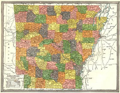 ARKANSAS state map. Counties 1907 old antique vintage plan chart