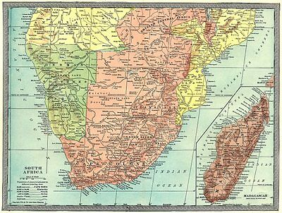 COLONIAL SOUTHERN AFRICA. Rhodesia. German Southwest Africa. Madagascar 1907 map
