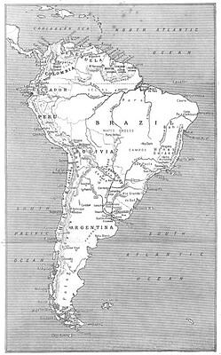 SOUTH AMERICA. Sketch map of South America 1908 old antique plan chart