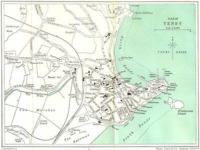 TENBY. Town plan. Wales 1950 old vintage map chart