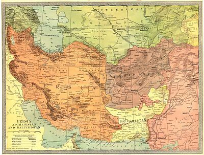 SOUTHWEST ASIA. Persia Afghanistan and Baluchistan. Pakistan Iran 1907 old map
