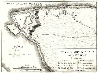 NEW YORK STATE. Plan of Fort Niagara with its Environ 1849 old antique map