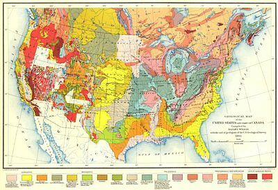 Geological Map of the United States and part of Canada 1907 old antique