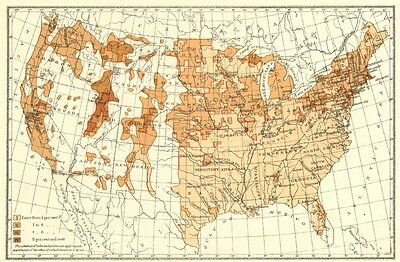 USA. Proportion of Natives Great Britain to total population.  1900 old map