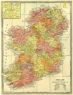 IRELAND showing counties. Pre-partition. Inset Belfast 1907 old antique map