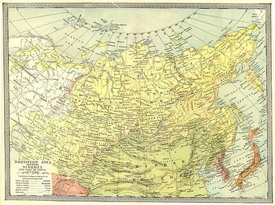 NORTHERN ASIA. Siberia and part of China. Russia in Asia 1907 old antique map