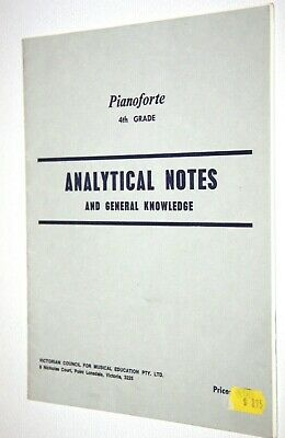 PIANO FORTE 4TH GRADE ANALYTICAL NOTES AND GENERAL KNOWLEDGE music book