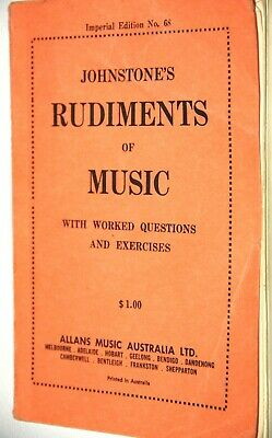 Johnstone's Rudiments Of Music With Worked Questions And Exercises Edition No 68