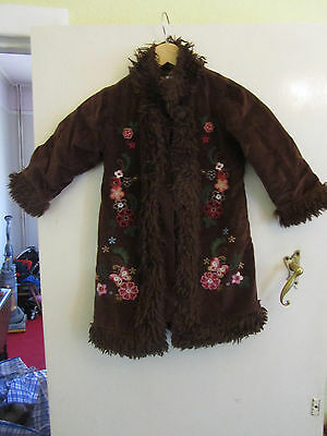 Girls Dark Brown Floral Embroidered Gap Coat with Furry Trim - Age 5 years