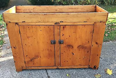 ANTIQUE 1800s AMERICAN PRIMITIVE COUNTRY PINE DRY SINK CUPBOARD BLUE PAINT