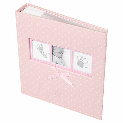 "Baby Girl Pink White Polka Dot Photo Album 200 Photographs 6"" x 4"" Picture Book"
