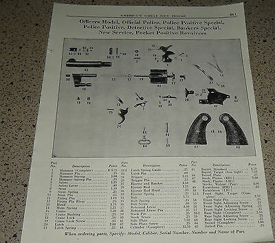 1953 COLT REVOLVER Parts List Ad Officers, Official Police, Police Positive +