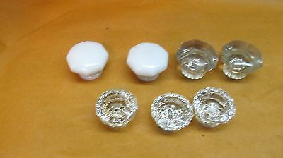 Lot of  Vintage Crystal Clear Glass & Milk Glass  Door Knobs no Shanks