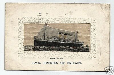 EUP Woven Silk Postcard, Canadian Paciifc Line R.M.S.Empress of Britain