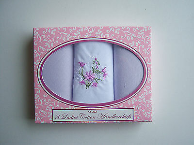 Ladies Pack Of 3 Handkerchiefs Assorted Lilac / Floral only £3.89