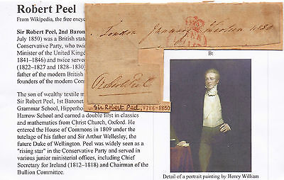GB.Political Autograph. Sir Robert Peel 1830 on Part Free Front.