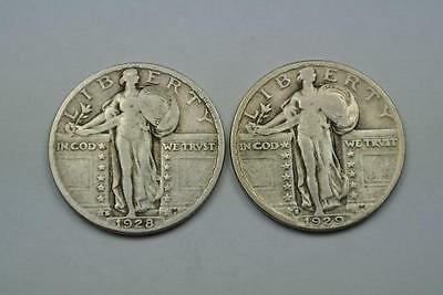 1928-S & 1929-S Standing Liberty Quarters, VF Condition - C1819
